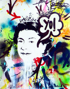 JP Malot - YO! Queen Elizabeth. Original painting from the Bricklane series