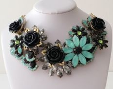 Joan Rivers Jeweled Garden Floral Bib Necklace