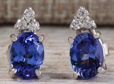 3.00 Carat Tanzanite And Diamond Earrings 14K Solid White Gold - No reserve Price