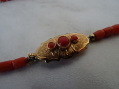 red coral necklace with 14 kt gold clasp