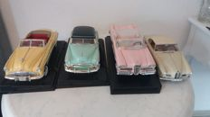 Motormax / Road Signature / Jadi - Scale 1/18 - Lot with 4 models: BMW 503 1956, Buick Roadmaster 1949 - Yellow / Red, Edsel Citation 1958 - Pink / White & Chevy Bel Air 1950 - Mint