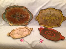 Assortment of old wood Florentine painted trays in hand - baroque Style - circa 1940