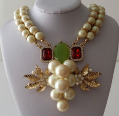 André Courrèges Paris - Faux Pearl Rhinestone Statement Necklace