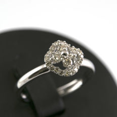 750/1000 (18 kt) white gold - Cocktail ring - Brilliant-cut diamonds of 0.50 ct - Ring size: 15 (Spain)
