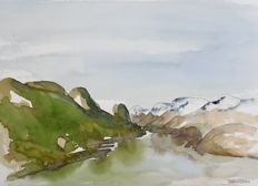 Franklin Meijer (1945) - IJsland - Lot of 7 x watercolour studies