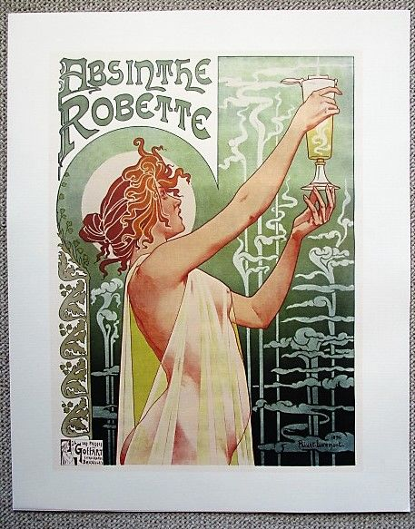 Art Nouveau lithography / advertising for Absinthe Robette by Privat Livemont; printed by J.L. Goffart