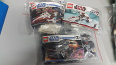 Star Wars - 7751 - Starfighter and Vulture Droid + 8016 - Hyena Droid Bomber + 8085 - Freeco Speeder