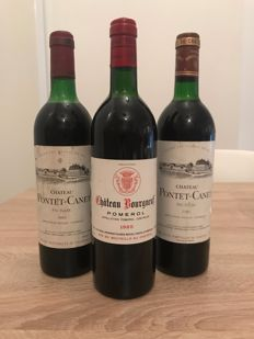 Chateau Pontet-Canet, Pauillac; 1982 x 1 & 1986 x 1 & 1985 Chateau Bourgneuf, Pomerol x 1 - 3 bottles (75cl) total