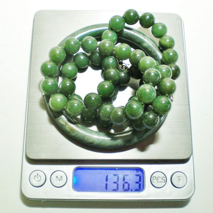 Genuine Jade Beads: Vintage Necklace With Green Jade Beads (genuine Jadeite