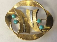 Brooch, 1960s Italy, with 4 small turquoise gemstones M