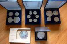 Europe - Lot of 5 FDC boxes containing 16 commemorative silver coins