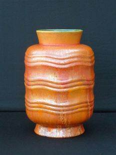 Charles Catteau for Boch Frères - Art Deco orange cylindrical vase with wavy relief decor  F1288