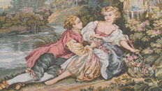 Vintage pictorial tapestry , second half of the 20th century, France  67 cm x 150 cm,