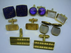Six pairs of old gold-plated men's cufflinks