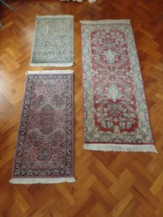 3 hand-knotted rugs: Ghoum, Kashmir & Sarough.