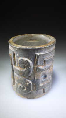 Chavin Cupisnique Incised Stone Vessel, H. 5,9 cm by D.4,9 cm,
