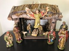 Beautiful antique Nativity scene with 13 large figurines, circa 1940