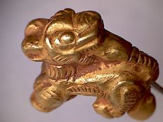 Late Pyu Culture gold bead depicting a standing tiger - 18 x 14 mm