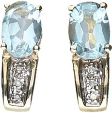 Earrings (BLG, below legal grade) set with Topaz and Diamond.