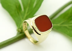 14 kt - yellow gold - men's - signet ring - carnelian