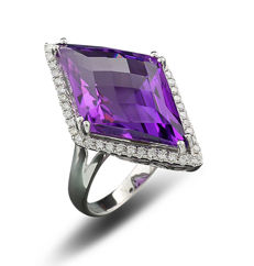 Amethyst-Brilliant ring totalling 14.30 ct, in modern diamond shape, 750 white gold ----No Reserve Price---