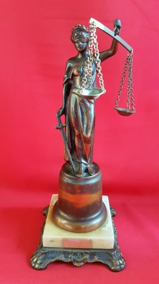 Lady Justice sculpture on a marble pedestal - signed