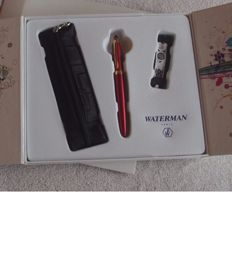 Waterman - Audacious Red Rollerball Pen - Case with Pouch and Bracelet