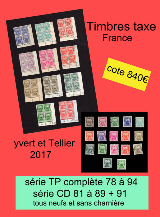 "France 1946/1960 – French tax stamps ""bundle style"" and dated corners"