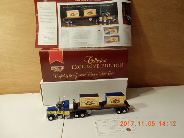 Dinky-Matchbox 2001 - Scale 1/55 - Lot with 1+2  models DYM02127 - Peterbilt 359 - Matchbox Commemorative Tractor Trailer