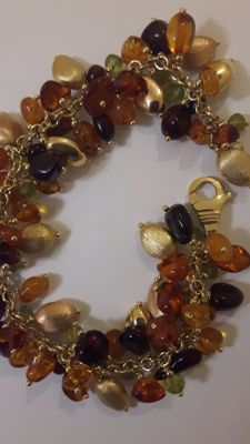 Precious vintage bracelet in 18 kt gold and natural amber and jade stones
