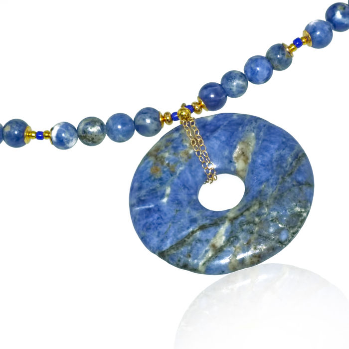 smooth wholesale gemstone hand relief sodalite boho product anxiety natural necklace polished pendant choker point aventurine crystal blue