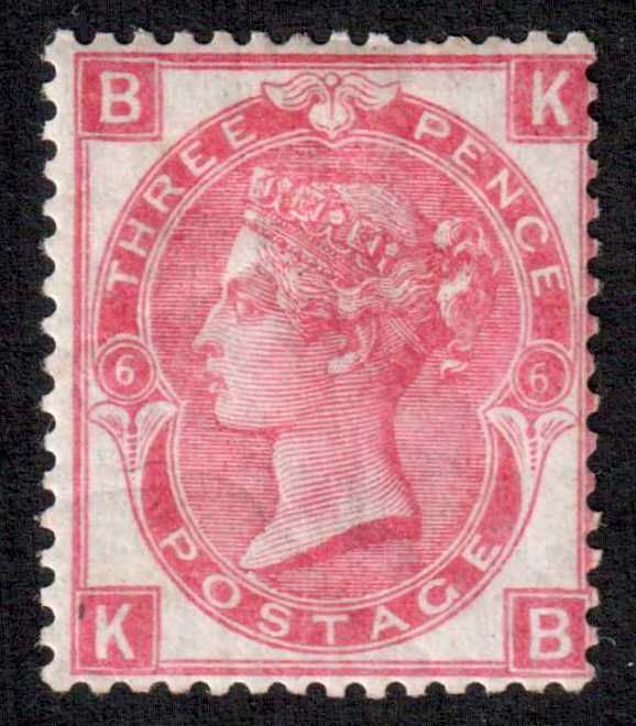 Great Britain Queen Victoria 1870 - 3d Rose Stanley Gibbons 103 plate 6