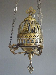 Bronze/brass sanctuary lamp with Mary depictions - early 20th century