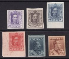 Spain 1922/1930 - Alfonso XIII Vaquer style, imperforated variants - Edifil No. 318s/321s, 323s