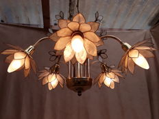 "Italian chandelier ""Capiz-shell"" Lotus-flowers 5-armed, 50s"