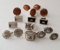 Lot of 6 pairs vintage cuff links and 3 rings