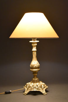 Antique brass/bronze lamp/table lamp, France, early 20th century