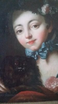 French 19th C  - Portrait of young girl with her dog