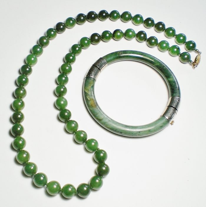 jade bangle green bracelet faceted gemstone itm beads exquisite stretch vintage