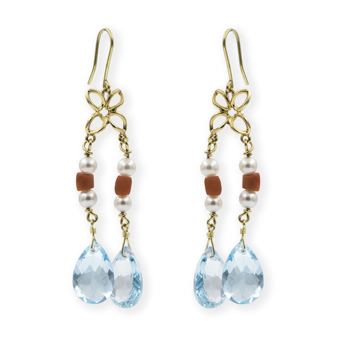 18 kt yellow gold - Long earrings - 9.00 mm aquamarine - Coral - 4.30 mm pearls