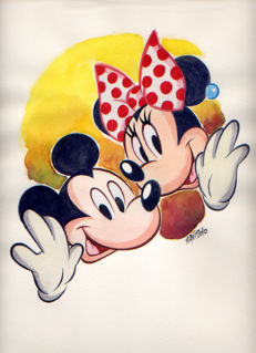 Vives Mateu, Xavier - Original gouache drawing - Mickey and Minnie - (2010)