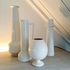 Boch Frères Keralux - Four vases from 1964, Ernest D'Hossche design with design numbers .../64