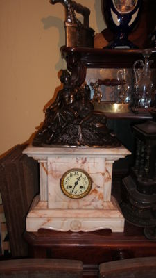 White marble clock with bronze statue about - French 1889