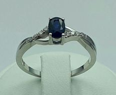 18 Ct White Gold  Natural Sapphire and Diamond Ring, Total 3.05g, size 18mm, ***No Reserve ***