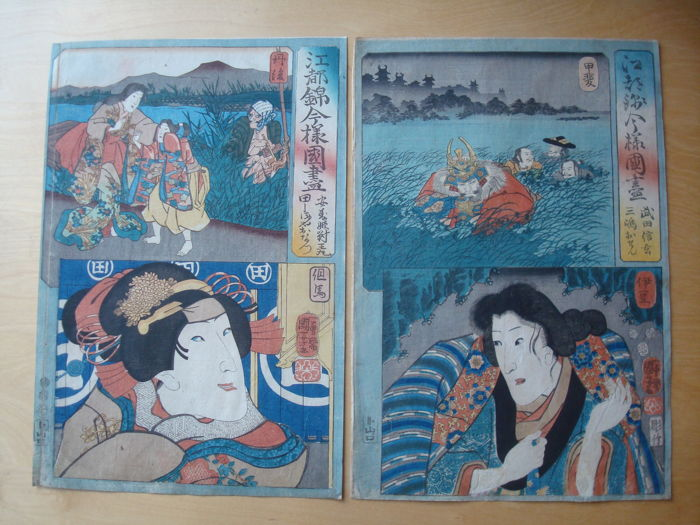 Two original woodblock prints by Utagawa Kuniyoshi (1798-1861) from the series 'A modern set of the provinces in Edo-brocade style' - Japan - 1852