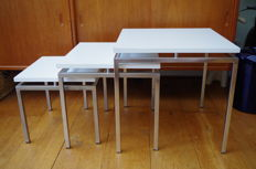 Manufacturer unknown - Set of three white nested tables
