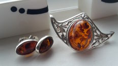 "Set - beautiful brooche ""the flying Fish"" & Earrings - natural Baltic amber - silver 925 - no pressed - UV test"