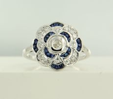 14 kt white gold ring in Art Deco style with a Bolshevik diamond and single cut diamonds **** NO RESERVE PRICE ****