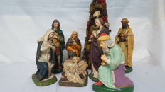 Detailed Christmas Figures Consisting of 7 Parts - France - Circa 1900