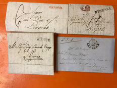 Historic States of Italy - Lot of Pre-Philatelic Letters from 1776 to 1861 - Tuscany, Sardinia, Sicily
